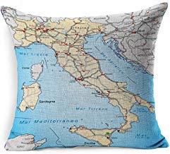 DarrenOw02 Milano Ancona Mapa Italia Highways Pastel Naranja Educación Interiores Benevento Bérgamo Bologna Border Cagliari algodón lino fundas de cojín 45 cm x 45 cm para salón Navidad fundas de almohada