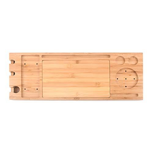 JRAVELR Bandeja De Bañera, Bandejas De Baño Multifuncional De Madera De Bambú con Lados Extensibles Soporte para Tableta De Libro Incorporado Soporte para Copa De Vino
