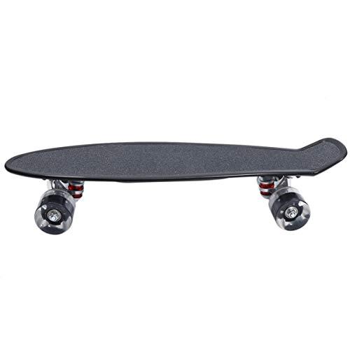 CLISPEED Mini Cruiser Skateboard Retro LED Leuchtende Rollen 56cm Skateboard für Kinder Jugendliche Erwachsene Anfänger Schwarz Tragbar Im Freien Straßen Sport Spielzeug