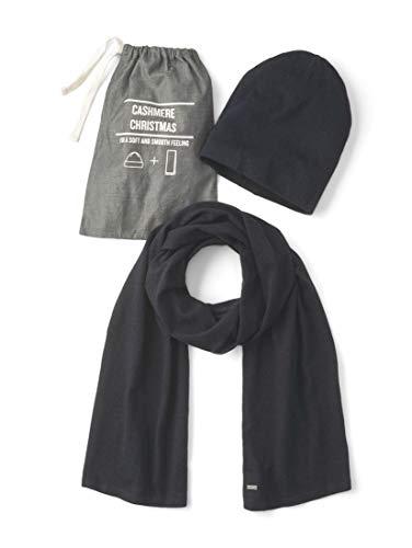 TOM TAILOR Herren Accessoire Mütze und Schal mit Kaschmir-Anteil Knitted Navy Melange,ONESIZE