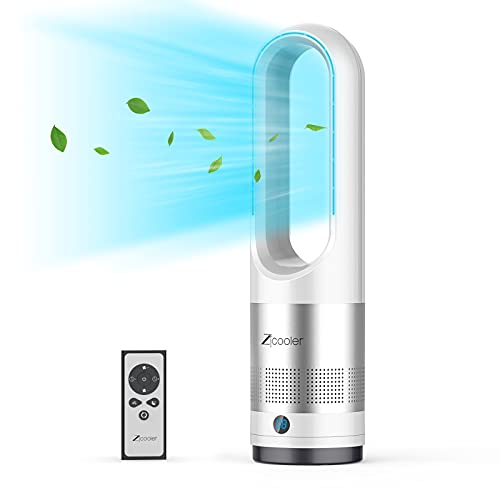 """Tower Fan, ZICOOLER 22"""" Oscillating Tower Fan with Remote, Quiet Cooling, LED Display with Auto Off, 8 Speeds, 8H Timer, Easy Clean, Space-Saving, Portable Bladeless Fan for Bedroom, Kitchen, Office"""