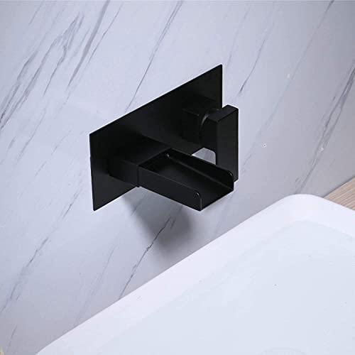 Grifo mezclador negro mate de pared con pico en cascada, adecuado para lavabo de baño, cubierta decorativa incluida