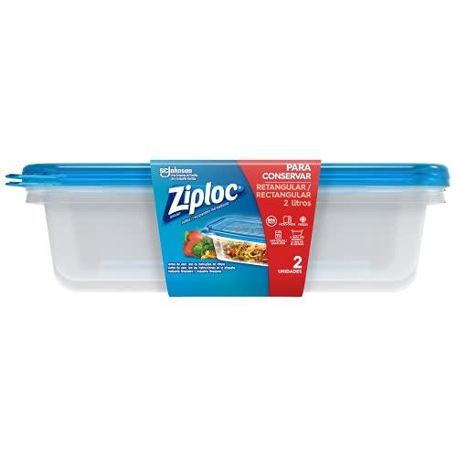 Pote Plástico Ziploc Retangular 2L com 2 unidades
