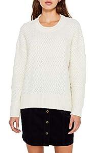 edc by ESPRIT Damen 119CC1I005 Pullover, Weiß (Off White 110), Large (Herstellergröße: L)