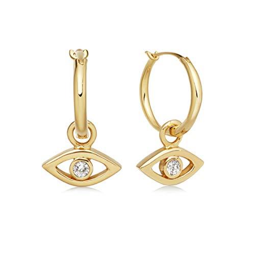 Creolen oder Ohrringe hängend mit Augen. Ohrringe Gold aus 925 Sterling Silber und 14K Weissgold oder Gold Plattierung. Handgearbeitete Ohrringe, designed in Deutschland. (Gold)