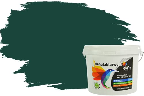 RyFo Colors Bunte Wandfarbe Manufakturweiß Dschungelgrün 3l - weitere Grün Farbtöne und Größen erhältlich, Deckkraft Klasse 1, Nassabrieb Klasse 1