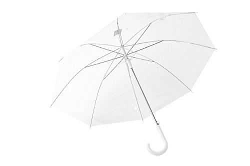 PERLETTI Ombrello donna lungo bianco PVC trasparente apertura automatica Q722