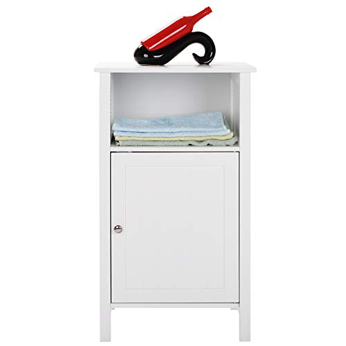 New Bathroom Floor Cabinet with Compartment Multifunctional Bathroom Storage Cabinet Free Standing Bathroom Storage Cabinet for Home Office Living Room Bathroom Bedroom 17.71 x 11.81 x 31.50Inch, White