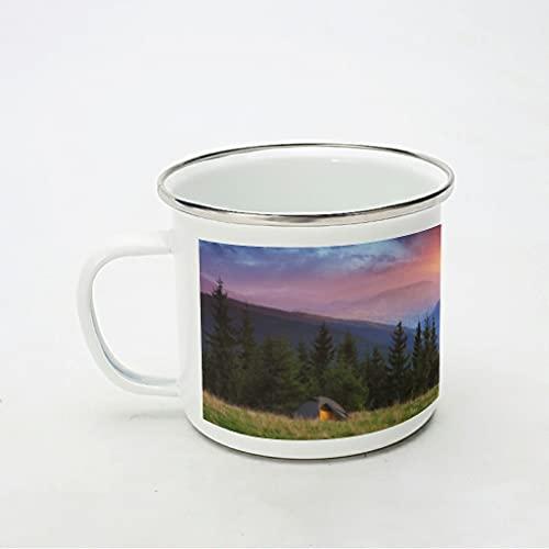 KittyliNO5 Taza esmaltada con amanecer, paisaje natural, portátil, ligera, idea de regalo para los amantes del café, color blanco, 350 ml
