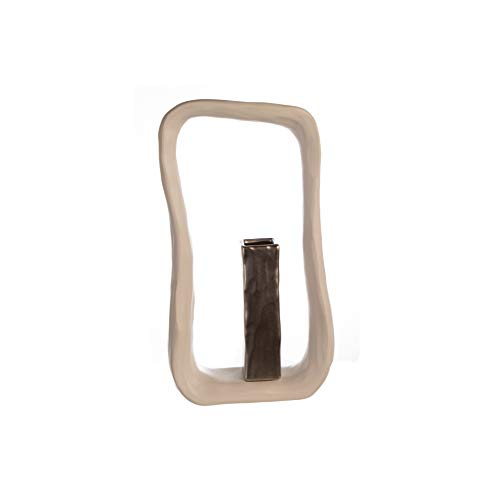 Casablanca vaas Kadoma keramiek wit/zilverkleuren mat effectglazuur H: 31 cm B: 17 cm D: 6,50 cm 56318
