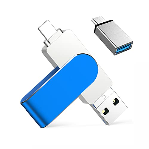 USB Stick Kompatibel mit iPhone 32GB Qarunt 4 in 1 Speichererweiterung USB C Stick OTG Handy Externer Memory Stick Flash Speicherstick Laufwerk Kompatibel mit Mac Android Laptop Tablet PC(Blau