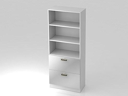 Regal 5 OH, 2 Hängeregister, Sockelblende Streifengriff, Weiß/Silber