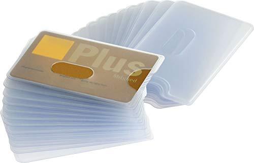 Karten Schutzhülle | 24 Stück | Robustes Plastik | Loch Ausschnitt | matt durchsichtig | EC Kartenhülle für Kreditkarten und Ausweis