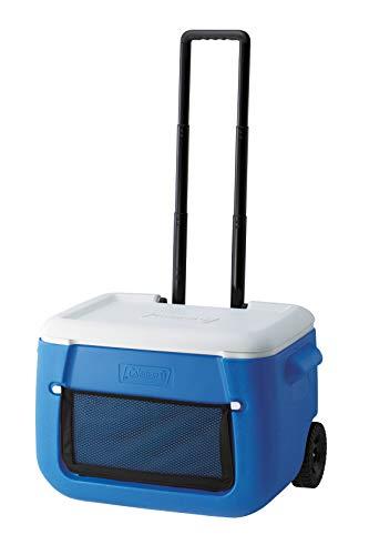 Coleman Passive Kühlbox 50 QT Poly-lite Wheeled Mesh, Thermobox 47 L Fassungsvermögen, mobile Eisbox mit Rädern