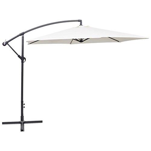 UnfadeMemory Freiarm-Sonnenschirm 3 m Gartenschirm Ø300cm Ampelschirm mit 6 Rippen Sonnenschirm Garten Terrasse Sonnenschutz Freitragendes Design Schirm (Sandweiß)