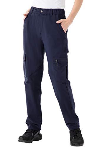 YSENTO Damen Wanderhose, leicht, schnelltrocknend, Outdoor, Stretch, Camping, Cargo-Hose (Marineblau, XL)