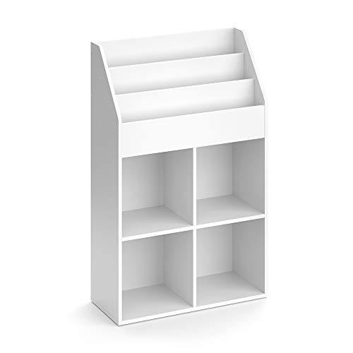 Vicco Kinderregal Luigi Weiß Spielzeugablage Bücherregal Aufbewahrungsregal Comic Regal für Kinder (Weiß, 72 x 114,2 x 31,2 cm)