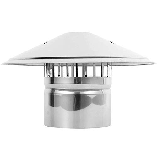 LTLCBB Stainless Steel Chimney Cowl Waterproof Round Air Vent Cowl Cap Rain Cover Protector Cap Kitchen Ending Roof Chimney Pipe Bird Cage Guard,125mm