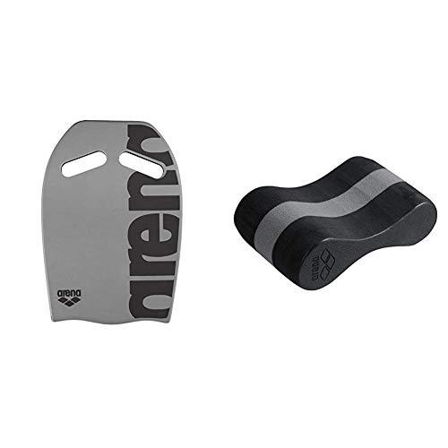 ARENA Unisex Schwimmbrett Kickboard als Schwimmhilfe, Silver (50), One Size & Unisex Pullbuoy/Schwimmbrett Freeflow Pullbouy zur Verbesserung der Wasserlage und Körperhaltung, Black-Grey (51)