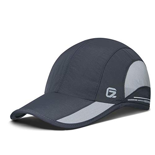 GADIEMKENSD Quick Dry Sports Hat Lightweight Breathable Soft Outdoor Running Cap Baseball Caps for Men (Deep Gray)