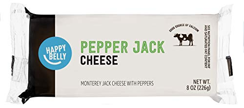 Amazon Brand - Happy Belly Pepper Jack Cheese Block, 8 Ounce