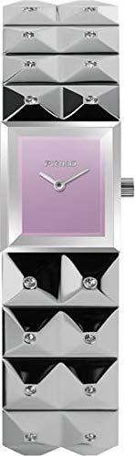 Pinko PK-2322L-05 - Reloj de mujer con esfera analógica, correa de acero, color plateado y morado