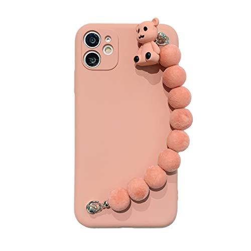 Carcasa de Silicona Líquida Compatible con iPhone 6/ iPhone 6S, Funda Protectora Suave Antigolpes con Cadena de Muñeca para Niñas, Colgante de Oso Pequeño, Funda Antirrayas para iPhone 6/ 6S, Pink