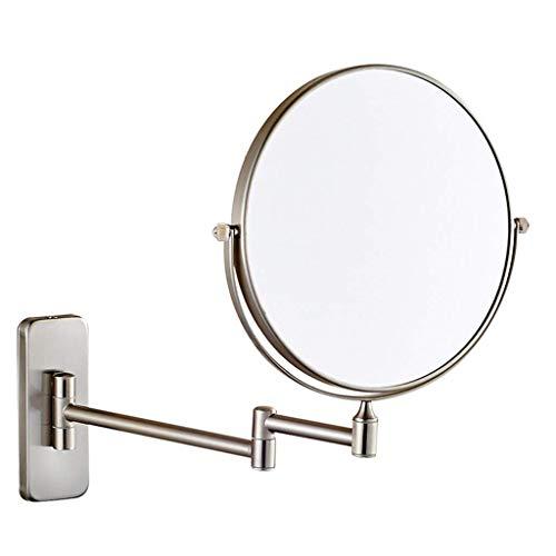 LNDDP Espejo Maquillaje, Espejo cosmético 8 Pulgadas, Aumento 10 Pulgadas, Montaje en la Pared del baño, función giratoria de360°, Espejo Giratorio Extensible Cromado, Espejo Maquillaje Iluminado