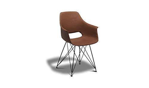 PKline set van 2 eetkamerstoel Elma kunstleer stoel stoelen eetstoel cognac bruin