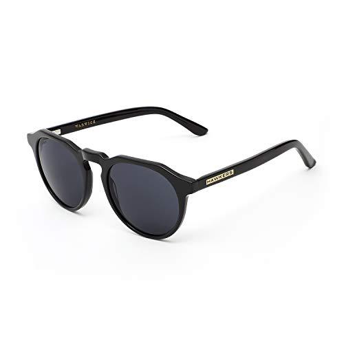 HAWKERS · Gafas de Sol Warwick Diamond black, para Hombre y Mujer, un clásico renovado que combina montura en negro mate y lentes negras, Protección UV400