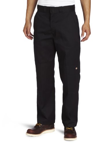 Dickies Men's Relaxed Straight Fit Double Knee Work Pant, Black, 40x32