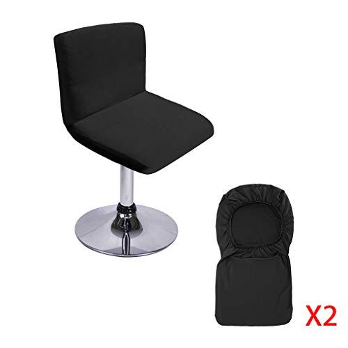 Btsky, Barhocker-Schonbezüge mit Rückenlehnenbezug, 2 Stück, Stretch-Stuhlbezug für kurzen Drehstuhl, Esszimmerstuhl, Barhocker mit Rückenlehne (ohne Stühle) Schwarz