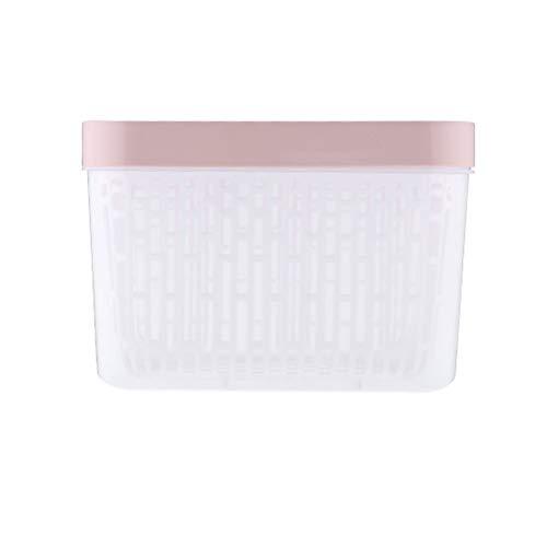 DOITOOL - Contenitore per alimenti per la casa, con coperchio e scolapiatti (quadrato rosa + bianco)