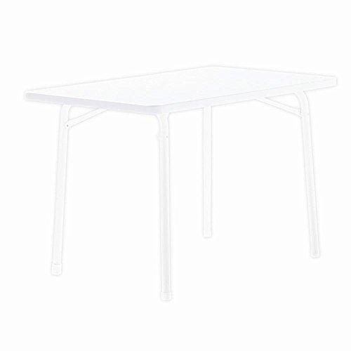 Sieger 120/W Garten-Klapptisch mit mecalit-Pro-Platte 115 x 70 cm, Stahlrohrgestell weiß, Tischplatte Marmordekor weiß