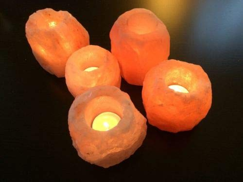 MAGIC SALT LIGHTING FOR YOUR SOUL Pack de 5 portavelas de Sal del Himalaya