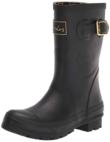 Joules Women's Molly Welly Rain Boot, Gold Etched Bee, 8