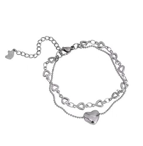 MENGHUA Ins Temperament Design Silver Love Stitching Pulsera Femenina Simple Y Fría Personalidad Novias Pulsera