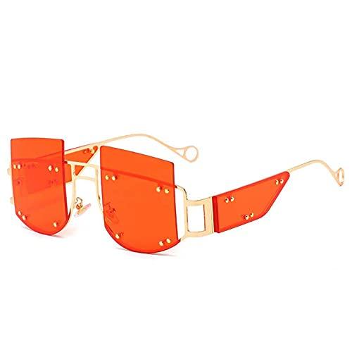 AMFG Gafas de sol sin montura EUROPEO Y AMERICANA PERSONALIDAD MEJORA Y GANTES DE SOL para hombres y mujeres, gafas de sol de moda, protector solar de verano, viajes al aire libre (Color : B)