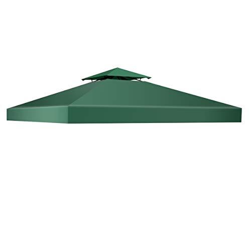 COSTWAY 3x3M Ersatzdach für Pavillon, Pavilliondach wasserabweisend, Pavillonplane Dachabzug, Pavillonabdeckung Dachplane (Grün)