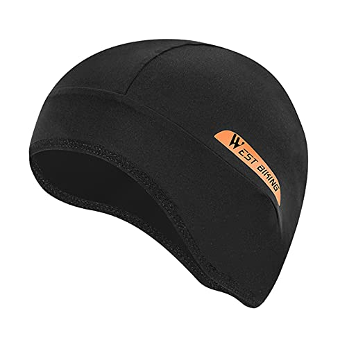 freneci Skull Cap Hat Cycling Helmet Liner Running Football Beanie Bandana Headband Headwear Skullcap Breathable - black