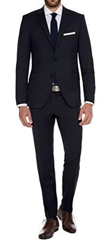 Combinaison homme en laine vierge pure dans bleu foncé, marque Lanificio TESSUTI Italia, Bleu - Blue - Dark blue, 110