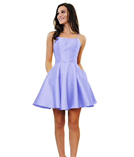 Yilis Women's Spaghetti Strap Satin Prom Dress A-line Short Formal Evening Party Gown with Pockets Lavender US14