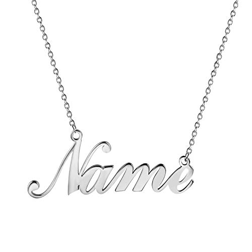JewelryWe Name Necklace Personalised Silver Tone Stainless Steel Pendant Necklace for Men Women Girls - Free Customized