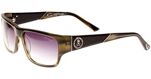 Ed Hardy Skull & Crossbones Sunglasses Olive Horn Grey Gradient 56 17 135