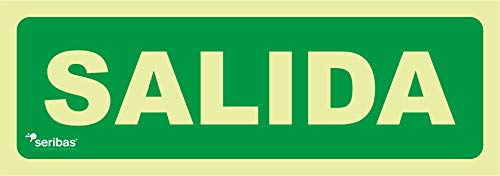 Señal luminiscente de salida – PVC 0,7 mm – 10,5 x 30 cm – cartel señal evacuación - clase B homologada.