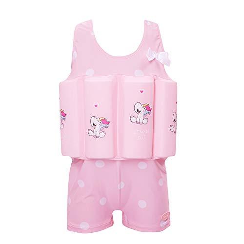 SXSHUN Kinder Badenanzug Schwimmhilfe Unisex Schwimmkraft Schwimmanzug Mädchen Jungen Baby mit Schwimmflügel Schwimmbrille Badekappe, Rosa#2, 134/140 (Etikettengröße:140)