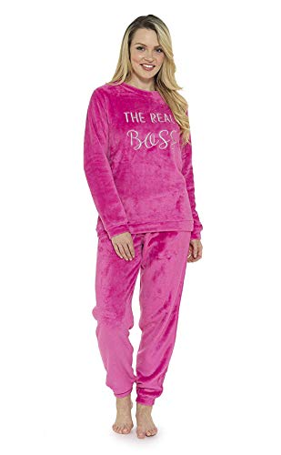 CityComfort Schlafanzug Damen Winter | Pyjama Damen Warm Flauschig | Schlafanzug Lang mit Bündchen | Nachtwäsche Zweiteiliger Schlafanzüge Fleece Weich Elegant (48/50, Rosa)