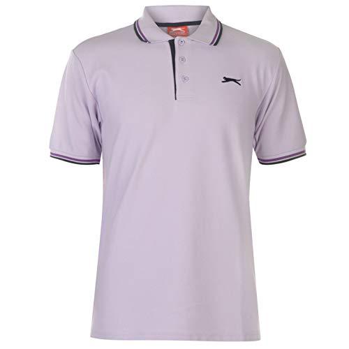 Slazenger Tipped Herren Polo Poloshirt T Shirt Kurzarm Classic Fit Tee Flieder M