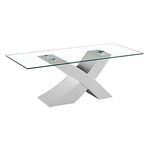 Tavolo da Pranzo Cucina Soggiorno Ufficio, Design Moderno, Base in MDF, Ripiano in Vetro, 181 x 90 x 76 cm, Base Bianca