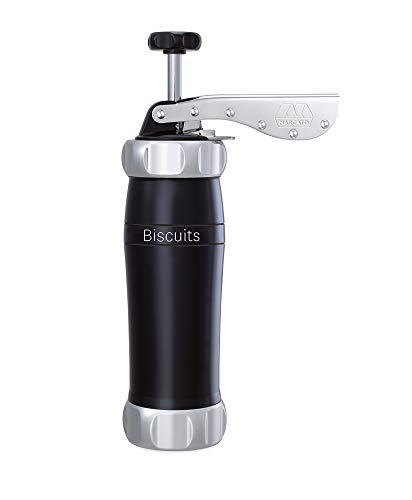 Marcato Atlas Deluxe Biscuit Maker, pressa per biscotti, Made in Italy, include 20 forme di disco, nero